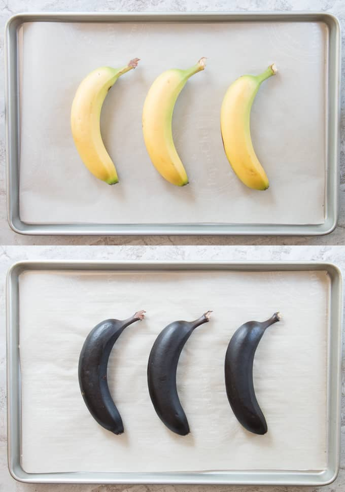 Three bananas on a baking sheet before and after ripening in the oven.