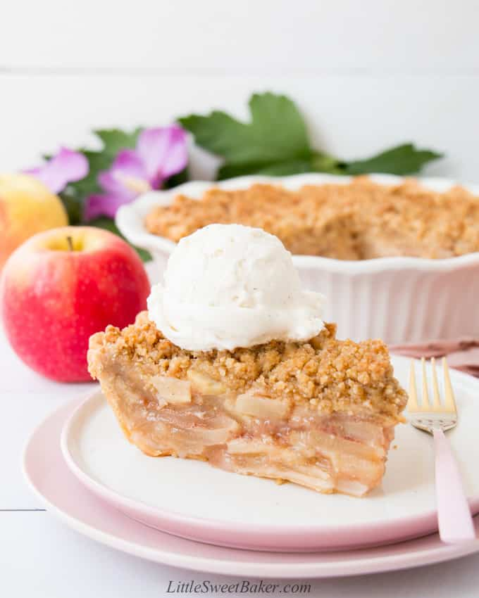A slice of Dutch apple pie topped with ice cream on a white and pink plate.