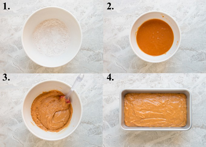 step by step photo collage of how to make easy pumpkin bread