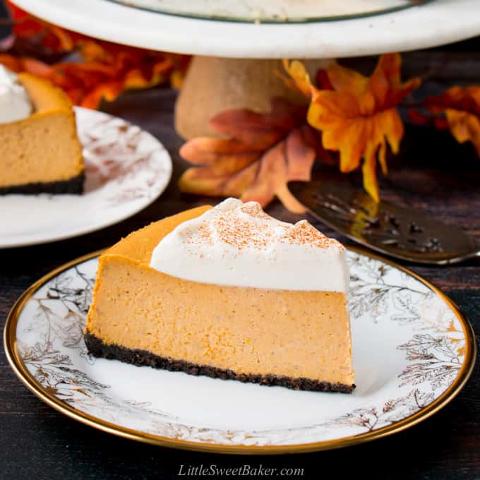 A slice of pumpkin cheesecake on a white and gold plate.