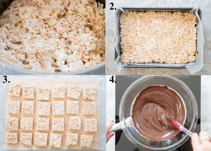 A picture collage of how to make chocolate rice krispie treats.