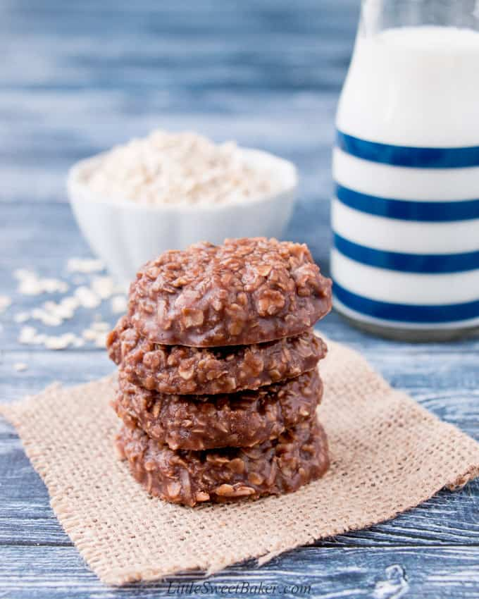 A stack of no-bake cookies with coconut on a piece of burlap.