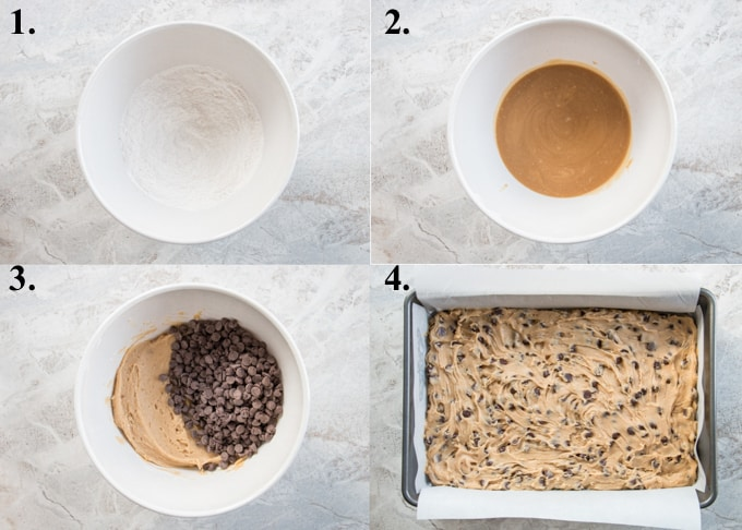 A picture collage of how to make chocolate chip cookie bars.