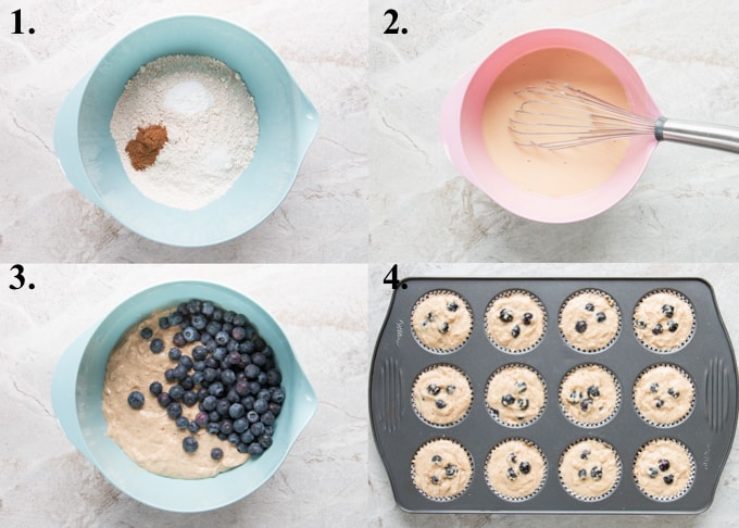 A picture collage of how to make healthy blueberry muffins.
