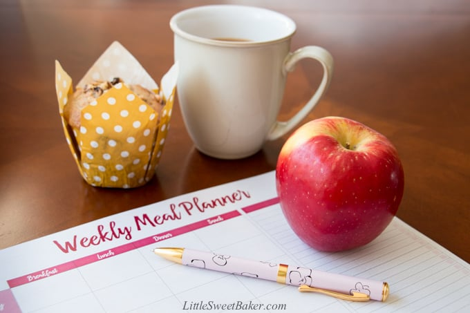 A meal plan sheet with an apple, cup of coffee and muffin on a coffee table.