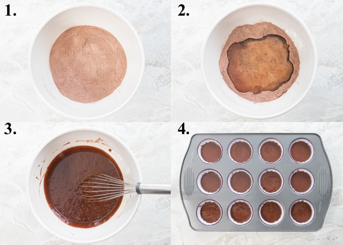 A picture collage of how to make chocolate cupcakes.