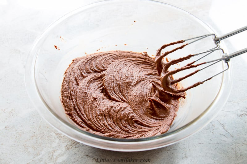 A bowl of freshly whipped chocolate ganache frosting.