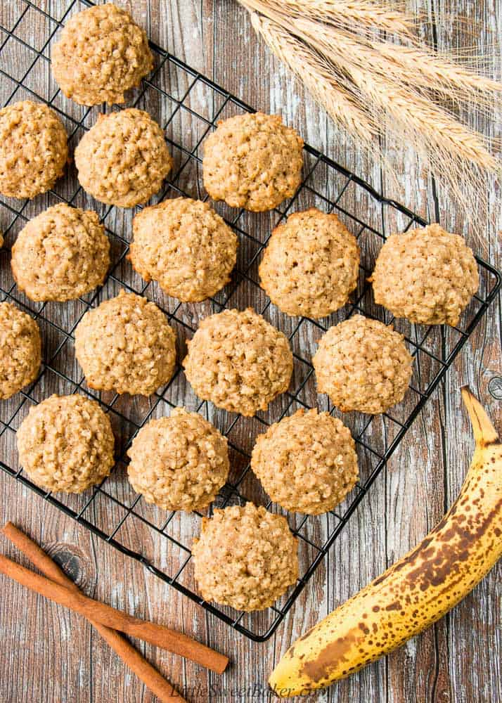 Banana oatmeal cookies cooling on a wire rack