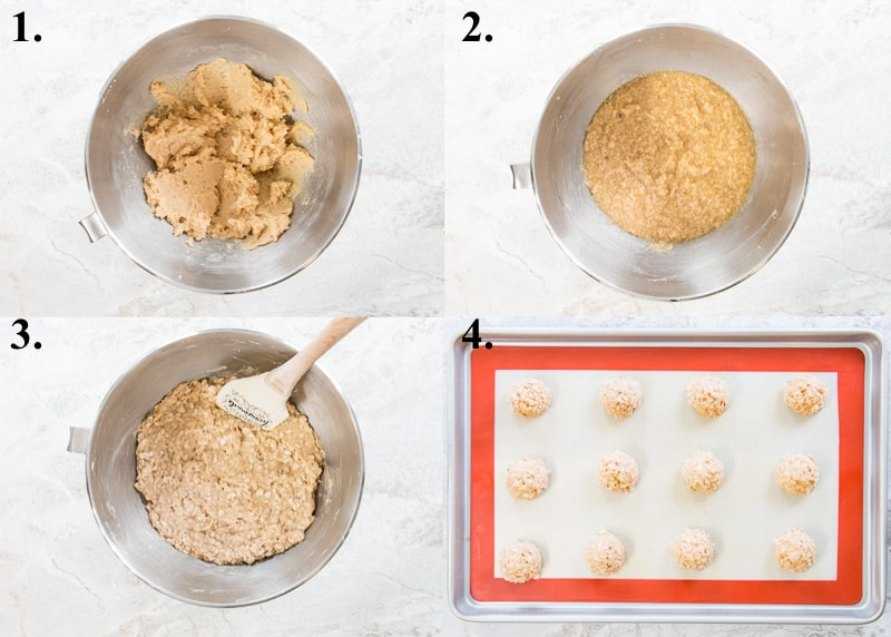 A picture collage of how to make banana oatmeal cookies