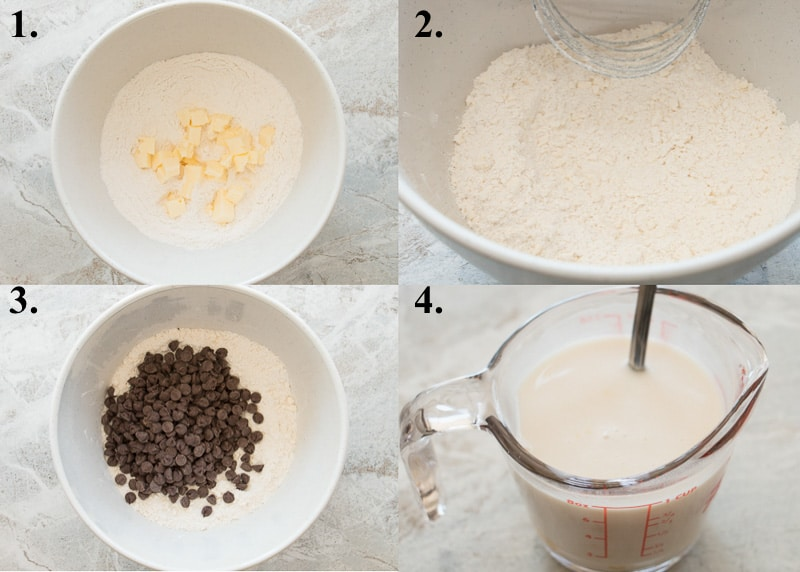 steps 1-4 how to make chocolate chip scones