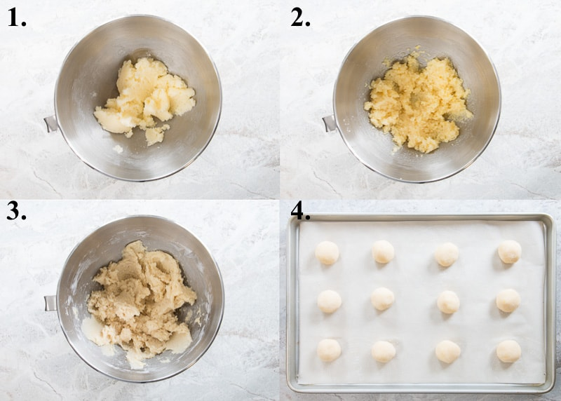 A picture collage of how to make lemon cookies.