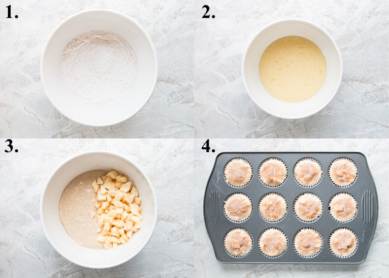 A picture collage of how to make apple cinnamon muffins