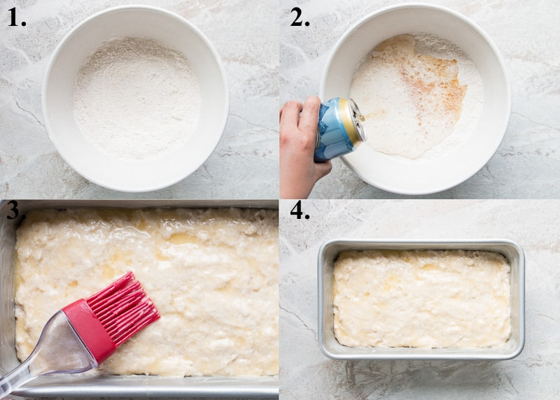 Process picture collage of how to make beer bread.