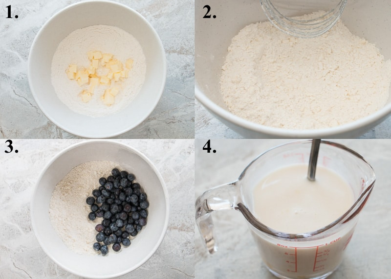 how to make blueberry scones steps 1 to 4