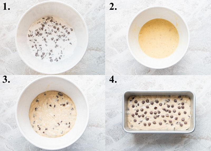 A picture collage of how to make chocolate chip banana bread