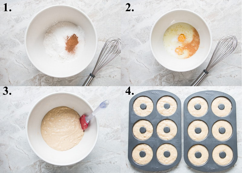 A picture collage of how to make cake donuts.