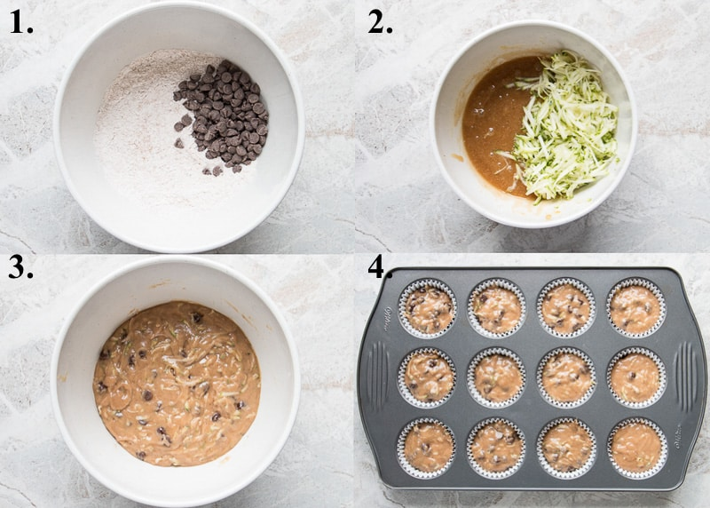 A picture collage of how to make zucchini chocolate chip muffins.