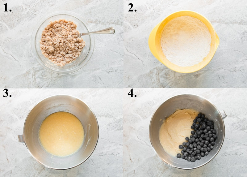 a picture collage of how to make blueberry crumb cake