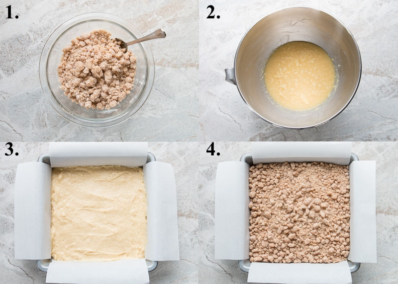 Process pictures of how to make crumb cake.