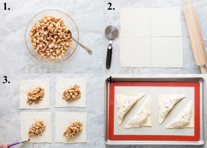 picture collage of how to make puff pastry apple turnovers