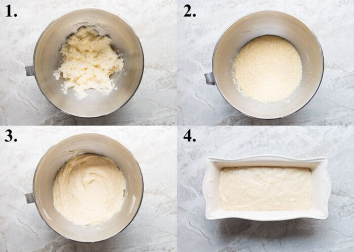 Picture collage of how to make lemon loaf.