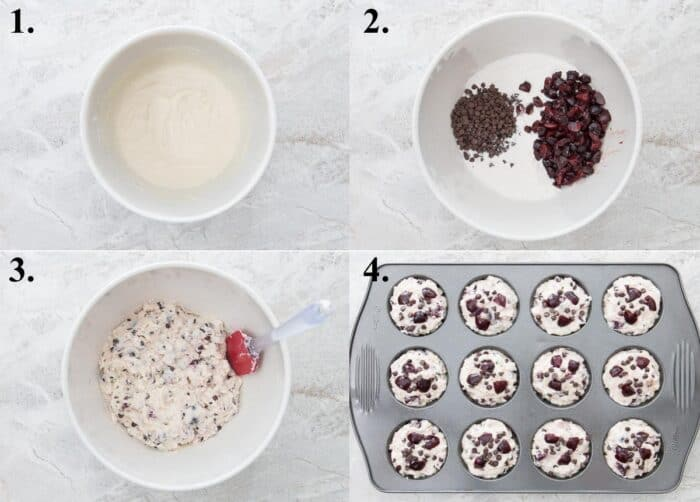 A picture collage of how to make cherry muffins with mini chocolate chips.