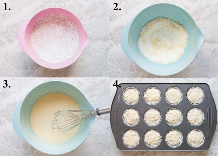Process picture of how to make lemon poppyseed muffins.