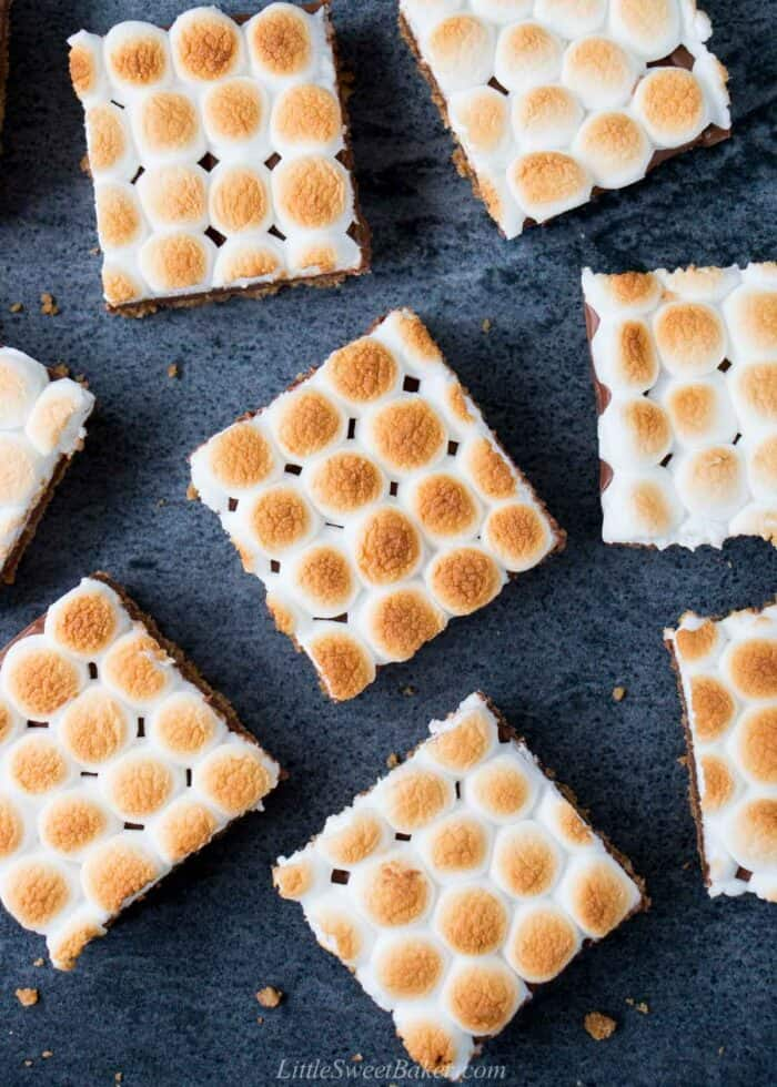 An overhead view of s'mores bars made with mini marshmallows