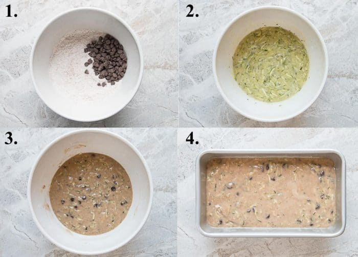 A picture collage of how to make zucchini bread with chocolate chips.