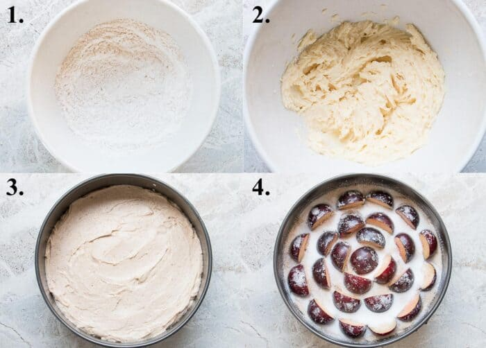 A picture collage of how to make plum cake.