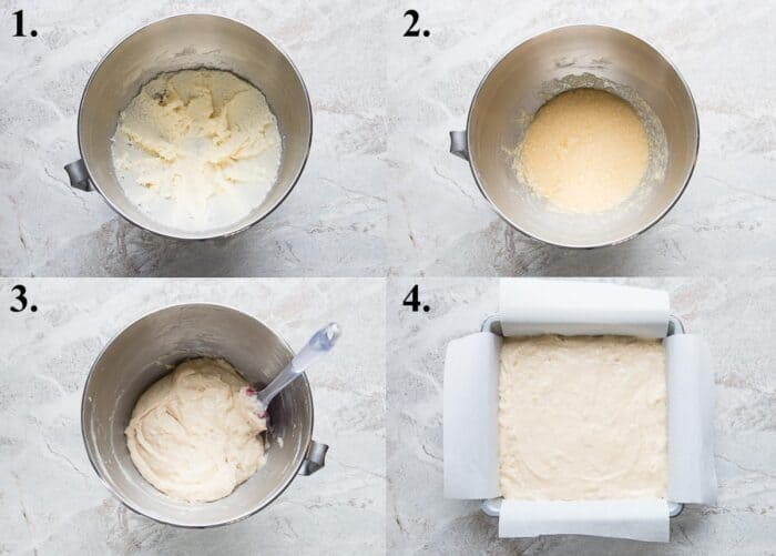 A picture collage of how to make butter cake.