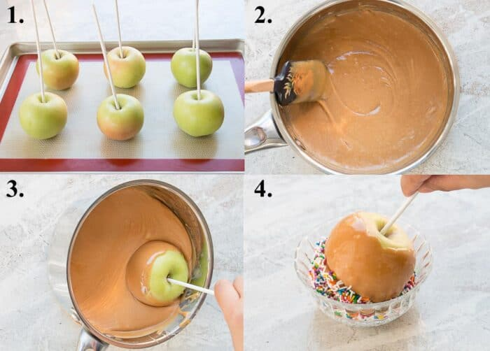A picture collage of how to make caramel apples.