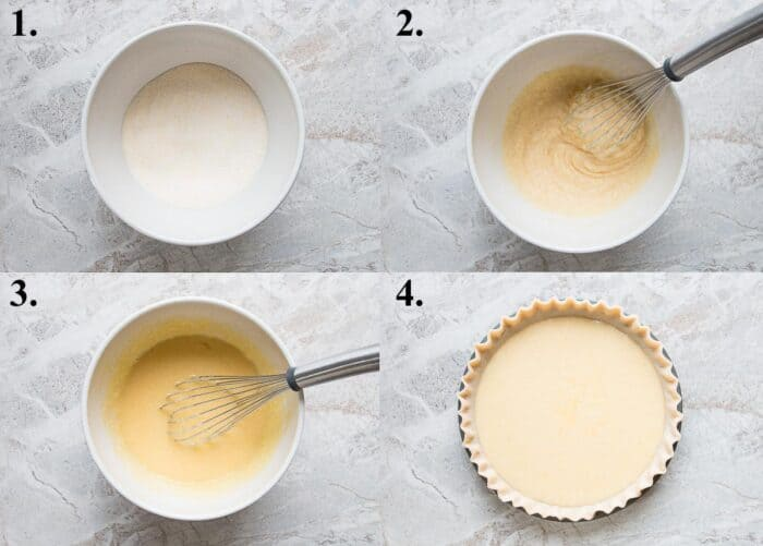 Process pictures of how to make chess pie