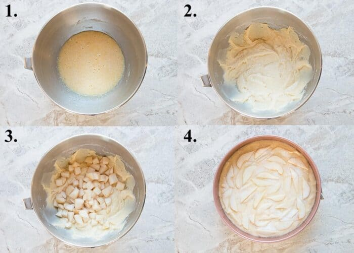 A picture collage of how to make fresh pear cake.