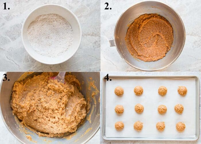 picture collage of how to make pumpkin oatmeal cookies