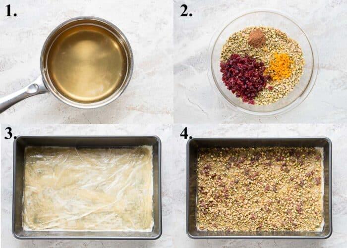 Process shots of how to make cranberry orange baklava.