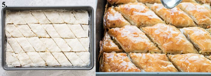 Baklava before and after baking.