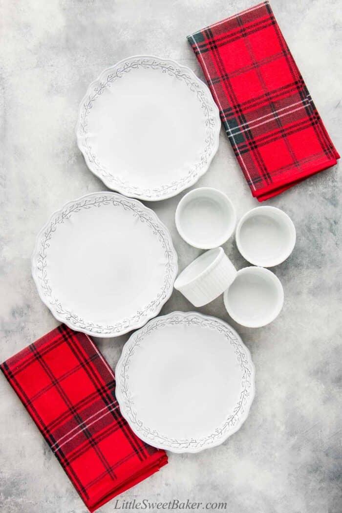 Plates, ramekins and napkins from Williams Sonoma.