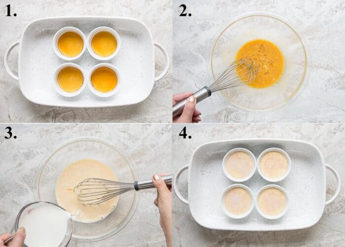 Process pictures of how to make creme caramel.