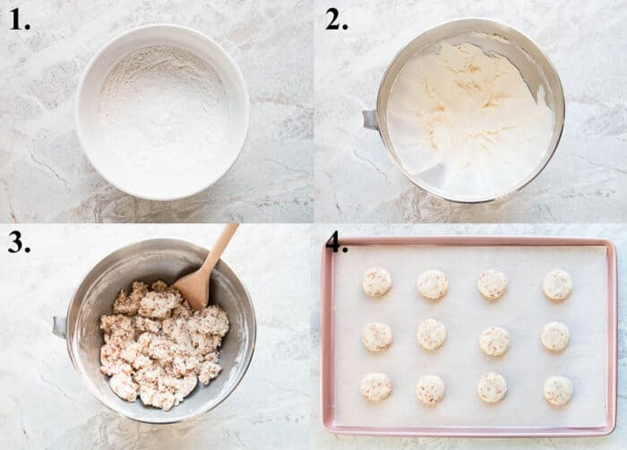 A picture collage of how to make toffee shortbread cookies.