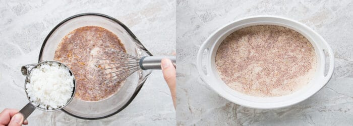 two process pictures of how to make baked custard rice pudding