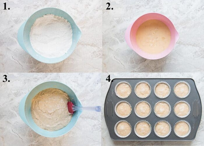 A picture collage of how to make banana muffins.