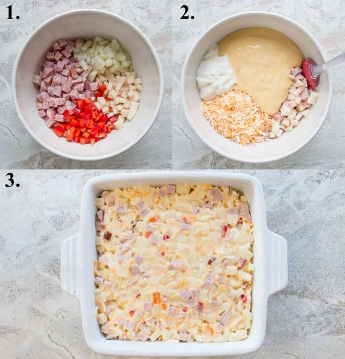 A picture collage of how to make ham and potato casserole.