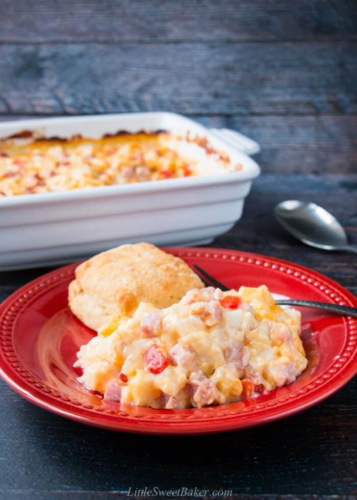 A plate of ham and potato casserole with a homemade butter biscuit.
