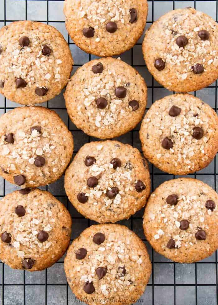 Top down view of oatmeal chocolate chip muffins on a cooling rack.