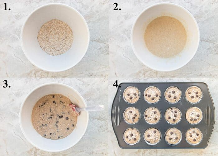 A picture collage of how to make oatmeal chocolate chip muffins.