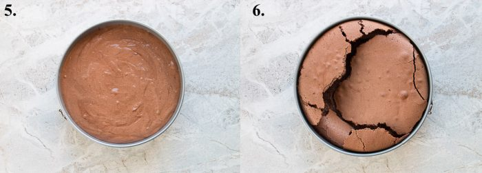 A flourless chocolate torte before and after baked.