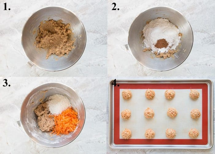 Process pictures of how to make carrot cake cookies.
