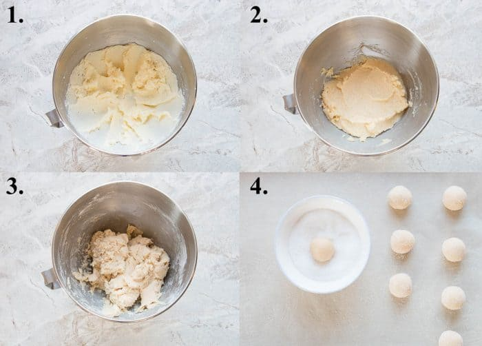 steps 1-4 on how to make thumbprint cookies