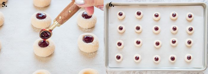 filling thumbprint cookies with raspberry jam and raw cookies on a baking sheet to be baked